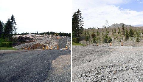 Bildet til venstre viser slik det så ut mellom Myraveien og næringsområdet Gran NY4 Syd da arbeidene med ny infrastruktur pågikk. Bildet til høyre viser området i dag med nyplantet vegetasjon.