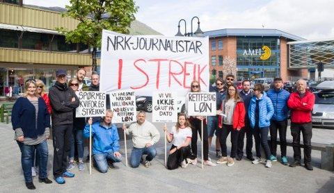 STREIKAR: – Vi håpar verkeleg vi blir møtt på krava, seier Brit Jorunn Svanes (ytst til venstre)