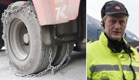 ALTFOR LAUST: Kontrollørane reagerte både på at kjettingane ikkje var tilpassa vogntogets dekk og at sjåføren sleit med å legge dei på rett. Her er ein enkelt kjetting lagt over eit sett tvillinghjul.
