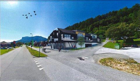 SENTRALT: Det nye bygget vil sjå slik ut når det står ferdig sommaren 2022.