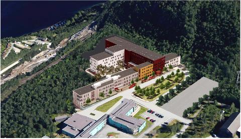 NOE MANGLER: Slik fremstiller arkitektene det nye sykehuset. Men på dette bildet mangler et planlagt parkeringshus.