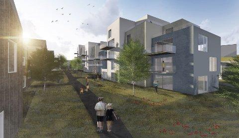 MILJØPROFIL: I prosjektskissen over boligplanene til TG Eiendom AS er det lagt opp til grøntområder og luft mellom boenhetene.
