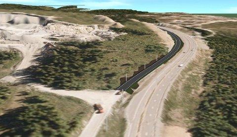 HELT TIL LYGNA: I dag stopper lokalvegen fra Amundrud ved Pukk1. Når ny veg skal bygges blir det lokalveg helt opp til Lygna-