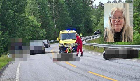 Karin Nordlie fra Mysen reagerer på det hun opplevde som passivitet fra andre personer på ulykkesstedet etter at MC med to personer og en bil hadde krasjet. – Man kan ikke la personer ligge alene i veibanen etter en slik hendelse.