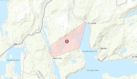 STRØMBRUDD: Kunder i dette området er uten strøm mandag kveld.