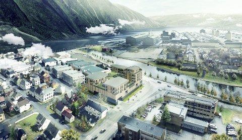 STORT PROSJEKT: Nye Sjøsiden senter (i midten) er at av de planlagte leilighetsprosjektene som popper opp i Mosjøen. Der er planlagt 31 nye leiligheter på toppen av utvidelsen av kjøpesenteret. Illustrasjon: Salto eiendom