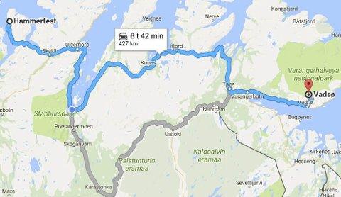 FERGEFRITT: Selv om strekningen fra Hammerfest til Vadsø til de grader er fergefri, påstår Kommunal- og moderniseringsdepartementet det motsatte. Kartillustrasjon: Tor Kjetil Kristoffersen