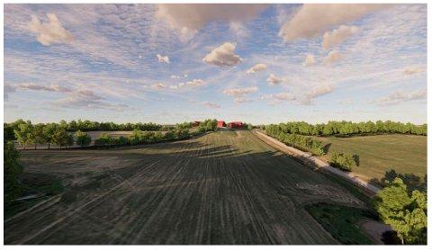 I TERRENGET: Slik har Snøhetta tegnet inn gårdshotellet i terrenget ved Gardermoen.