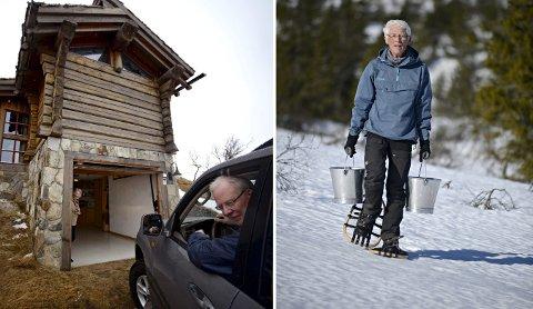 Primitivt: Vidar Skaar Borgersen koser seg når han bærer vann til hytta si på Blefjell.foto: jan storfossen