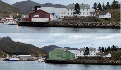 Innseilingen til Ballstad før og etter Hattvika AS' planlagte utbygging.