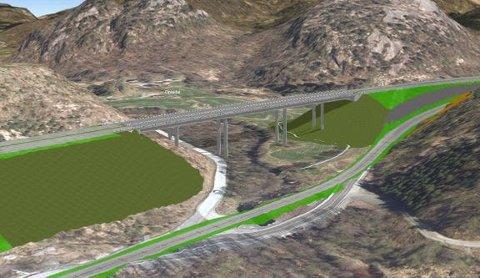 VEILINJE: Illustrasjonen viser plassering av veilinjen ved Optedal bro.