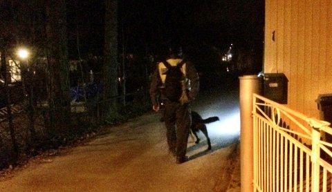SØK: Hundepatruljen søker nå i området rundt 6-åringens bopel i Rådyrveien i Son og politiet ber alle som vil være med å lete om å holde seg i ro inntil de får beskjed. Hundesøket vil være langt vanskeligere med mange mennesker som leter i samme område.