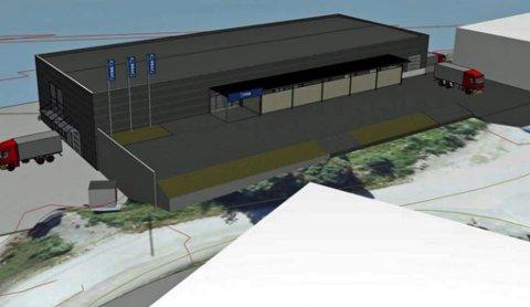 KLART TIL HØSTEN: Det nye handelsbygget skal etter planen stå ferdig sensommeren 2019. En av butikken som skal flytte inn er Jysk. Den endelig utseende på bygget kan avvike noe fra illustrasjonen.
