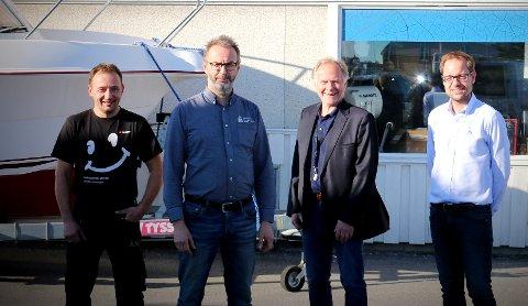 TAR SATS: Styret i Namdal Maritime har ambisjoner om å investere flere titalls millioner kroner i nye fasiliteter i nye butikk- og verkstedsfasiliteter. Fra venstre: Nils Reidar Nordaunet, Kåre Edvardsen, Are Brekk (styreleder) og Lars Mælen.