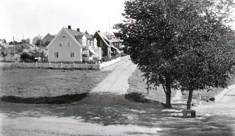 UTSIKTSVEIEN i 1930-åra. Merk vannkrybba for hester i svingen ned mot Kristian Fredriksvei.