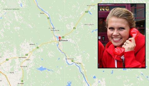ETTERLYST: Er du i 20-åra og fra Elverum? Har du i tillegg spilt Nabolaget? Ja, da kan det være grunn til å sjekke kontoen. Så langt har ikke Norsk Tippings Pernille Storholm Skaret (innfelt) fått kontakt med vinneren. (Kart: Google Maps / Foto: Norsk Tipping)