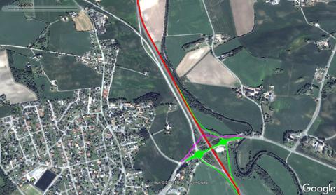 ENDRINGER: Ved Vien blir det flere endringer. Rød: Åpen E6. Grønn: Åpne ramper, rundkjøringer og lokalvei. Lilla: Gang- og sykkelvei