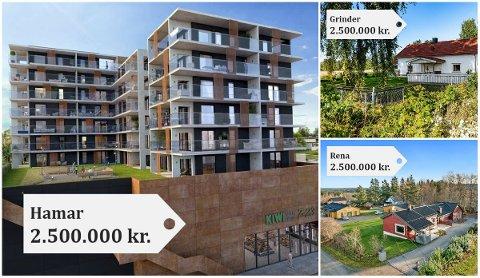 STOR VARIASJON: Har man 2,5 millioner å kjøpe leilighet for på Hamar, strekker det blant annet til en splitter ny toroms på Storhamar Torg (store bildet). Her er kvadratmeterprisen på 62.500 kroner. Etter planen skal boligen være ferdigstilt 1. kvartal 2022.  På Grinder i sørfylket (øverst til høyre) kan du kjøpe en enebolig på 164 kvadratmeter for 2,5 millioner kroner. Det gir en kvadratmeterpris på 15.243 kroner. Denne boligen er nylig oppusset, og beskrives som innflytningsklar. Og sist men ikke minst: For 2,5 millioner kroner får du en 200 kvadratmeter stor enebolig på Rena (nederst til høyre). Denne ligger ute i markedet med en kvadratmeterpris på 12.500 kroner.