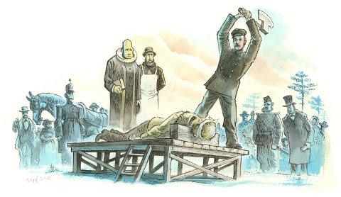 UTEN NÅDE: Kristoffer Nilsen Svartbækken ble dømt for mord og henrettet foran et stort antall skuelystne i Løten i 1876. Slik ser tegneren Egil Nyhus for seg at det skjedde.