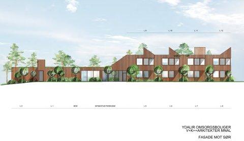 MOT SØR: Slik blir fasaden på det nye bofellesskapet mot sør.