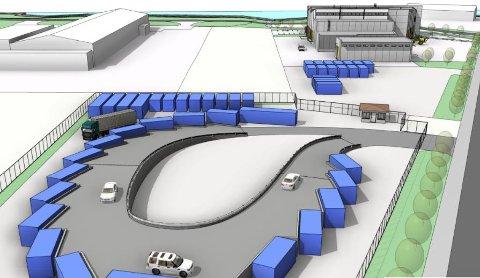 GJENBRUKSMOTTAK: Slik er planene for hvordan HAFs gjenbruksstasjon på Vikaleira kan bli seende ut.