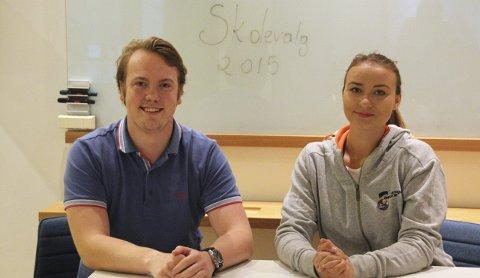 Maciej Ostrowski, nestleder i Ringerike og Hole AUF, og Dominika Eva Rozanska, Ringerike og Hole Unge Høyre, er enige om at skoledebatten gjør elevene mer engasjert og interessert i politikk før skolevalget.