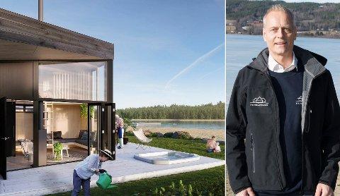 NÆRHET TIL STRAND: Slik ser utbygger Espen Skoglund i Smartbo for seg at hyttene skal ligge tett på stranda og vannet. De har blant annet vært og sett på Røsholmstranda.