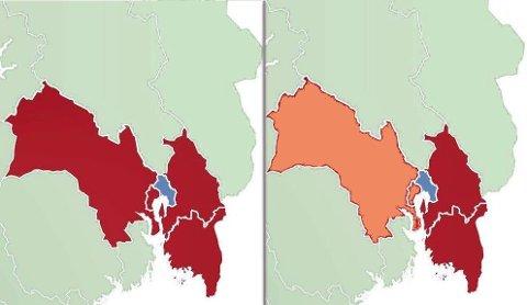 Illustrasjon: Til venstre ser du region Viken slik det er vedtatt 8. juni 2017. Til høyre ser du det slik Østfold Ap nå har vedtatt, hvor regionen deles i to med Oslo som delingslinja.