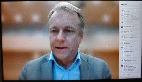 Ordfører Saxe Frøshaug fra et teams-møte.