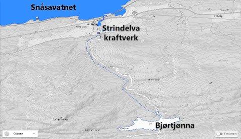 Strindelva kraftverk: Kraftverket har inntak fra Bjørtjønna og trasé til kraftstasjonen ikke langt fra fylkesvei 763 ved Snåsavatnet.