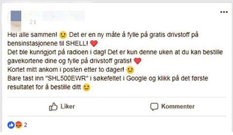 FOR GODT TIL Å VÆRE SANT: Sikkert fristende, men dessverre stemmer ikke dette tilbudet. Foto: Skjermdump Facebook