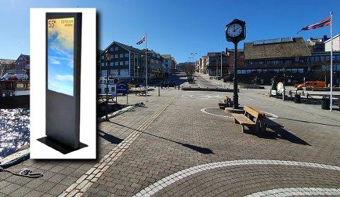 Denne typen skjerm (innfelt) kan snart bli satt opp både på Piren og på Rådhusplassen i Kristiansund.