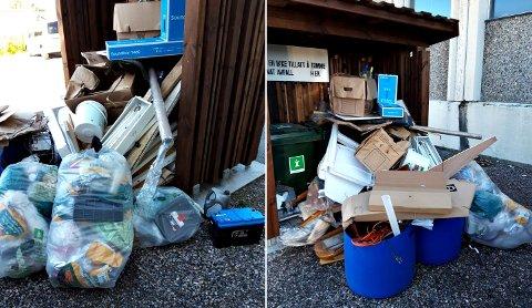 Dette er avfallsdunker for fritidsabonnenter på Flatset, men Remidt opplever stadig at andre personer lemper fra seg allslags avfall ved skurene.