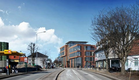 FEMETASJES BYGG: Nye Nedre Langgate 19, slik utbyggere og arkitekter ser for seg bygningen fra syd.