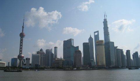 Pudong-området i Shanghai, byens mest moderne forretningsstrøk.