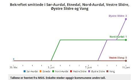 To tilfelle: Øystre Slidre har hatt to smittetilfelle dei siste dagane. Onsdag var det ein som ikkje bur i Øystre Slidre. Fredag kom det eitt nytt smittetilfelle på statistikken.