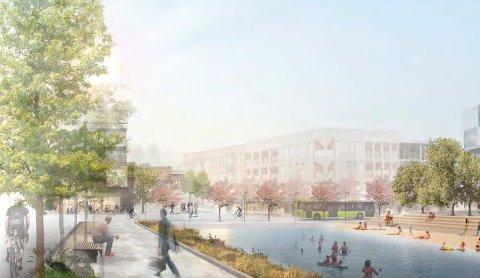 URBANUTVIKLING:Fra ett av bidraga til planen for nye Nittedal sentrum.