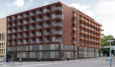 SIK KAN DET BLI: KB Arkitekter har laget denne skissen som viser hvordan Grev Wedels gate 1 (til høyre) og 3 kan blir med 95 leiligheter og næringsarealer i 1. og 2. etasje.