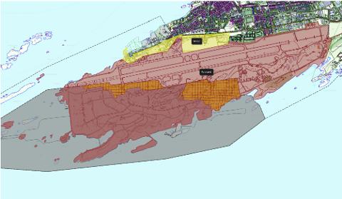 Arealet merket med gult eies i dag av Avinor. Arealet merket med rødt eies av Forsvarsbygg. Kartet viser også hva som avsettes til nye Bodø lufthavn.