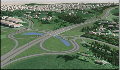 Slik blir det nye krysset på Dagslett i Røyken seende ut når riksvei 23 står ferdig i 2021.