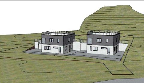 Fasaden på de planlagte eneboligene sett fra Nylendeveien.