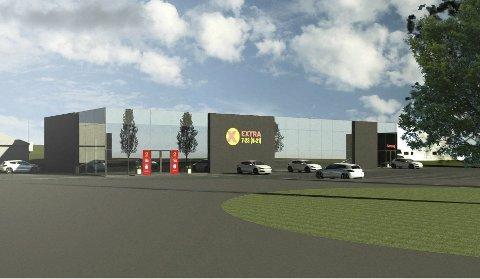 FØREBELS SKISSE: Det kan sjå ut til at den nye Coop Extra-butikken på Evja er kommen eit steg nærare realisering.. Illustrasjon: Sporstøl arkitekter