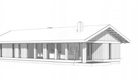 Leve Hytter mener arkitekturen mister sin helhet hvis vinduene skal lages mindre eller deles opp i ruter. Dette er en av skissene som er vedlagt søknaden til Ringebu kommune.