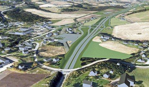 Statens vegvesens illustrasjon over ny riksveg 4 i Lunner, fra Roa til kommunegrensa mot Gran.