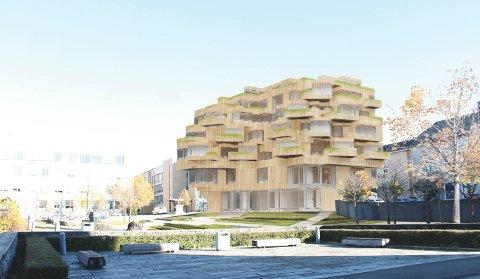 BYGGET: Her er trebygget som Nordbolig ønsker å oppføre på Fougner Lundhs plass.