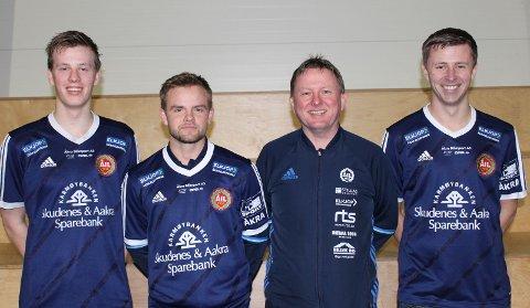 NYE: Christan Alstad, Anders Underhaug, lagleder Asbjørn G. Sevland og Mats Kvalvågnes. Foto: Åkra IL