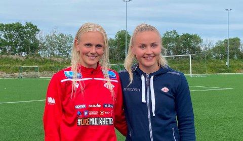 TRIVES SAMMEN: Karina Sævik (t.v.) og Anna Jøsendal ser fram til mer spilletid sammen framover. Mot LSK lørdag løsnet det offensivt for Avaldsnes etter at Jøsendal kom på banen en halvtime før slutt.