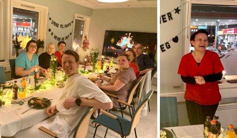 SISTE FEST MED GJENGEN: –Mange gode minner tar jeg med meg, sier Inger før hun må løpe til lunsj med Kahoot på Sjøkanten legesenter for siste gang. Dette bildet er fra avslutningsfesten. Foto: Privat