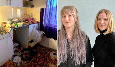 Marion Myhre og Linda Solheim Martinsen i prosjektet Housing First jobber nå med å sikre 11 fra harstad et bedre botilbud. Slik så det ut i hjemmet til en mann i 70-årene som nå er hjulpet til et nytt liv.