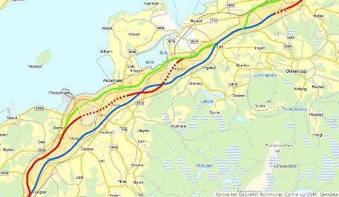 INTET VEDTATT: Ifølge plansjef Per Anders Røstad er det ennå ikke behandlet noen kommunedelplan i Levanger som omhandler ny E6. Dermed er det verken landet endelig trasévalg eller plasseringer av nye kryss. Fortsatt er det disse tre linjeføringene (rødt, blått og gult) som er til vurdering.
